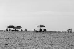 Beach Umbrellas People Black White Royalty Free Stock Photo