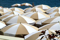 Beach umbrellas in perspective Royalty Free Stock Photos