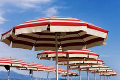 Beach umbrellas on Riccione, Italy Royalty Free Stock Photos