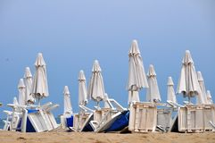 Beach umbrellas in rows Stock Image