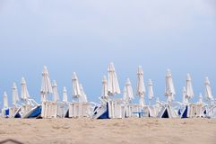 Beach umbrellas in rows Stock Photos