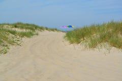 Beach umbrellas on the sandy coast of the Baltic Sea Stock Images