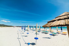 Beach umbrellas in Sardinia Royalty Free Stock Photos