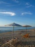 Beach umbrellas at seashore Royalty Free Stock Image