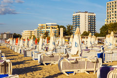Beach umbrellas and sun loungers on a beach Royalty Free Stock Image