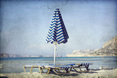 Beach with umbrellas and sunbeds Royalty Free Stock Images