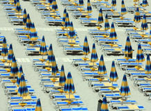 Beach umbrellas and sunbeds Stock Photo