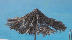 Beach umbrellas and swimming pool. Beach umbrellas and empty swimming pool with lounges stock footage