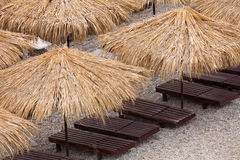 Beach umbrellas from top Royalty Free Stock Photography