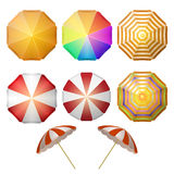 Beach umbrellas top view Royalty Free Stock Images
