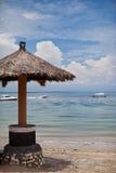 Beach umbrellas. Beach umbrella with sea views stock photos
