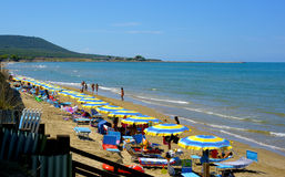 Beach with umbrellas and unidentified people at crowded beach near estuary of fortore Stock Image