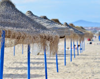 Beach with umbrellas. Stock Photo