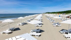 Beach umbrellas, view from above stock video footage