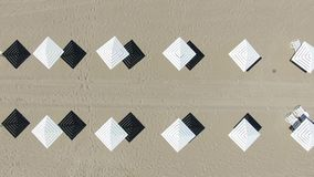 Beach umbrellas, view from above stock video
