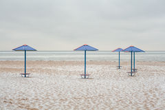 Beach Umbrellas At Winter Stock Photography