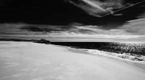 Beach at Todos Santos central Baja California Mexico BCS - black and white Royalty Free Stock Image