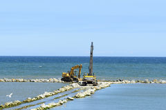 The beach under construction. Stock Images