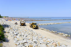 The beach under construction. Royalty Free Stock Photography