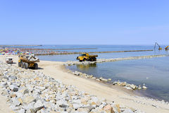 The beach under construction. Stock Photography