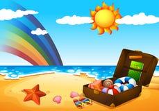 A beach under the sky with a rainbow and a bright sun. Illustration of a beach under the sky with a rainbow and a bright sun Royalty Free Stock Photography