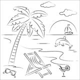 Beach vacation. Vector Illustration of beach vacation Stock Images