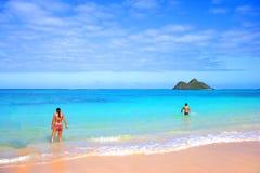 Beach vacation. Tropical beach - Lanikei Beach, Oahu, Hawaii Stock Photography