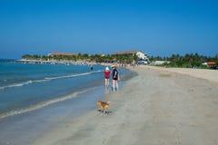 Beach vacation accessories. Beach on the Indian Ocean island of Sri Lanka. Coast Pasikudah Stock Photo