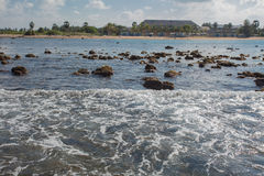 Beach vacation accessories. Beach on the Indian Ocean island of Sri Lanka. Coast Pasikudah Stock Photography