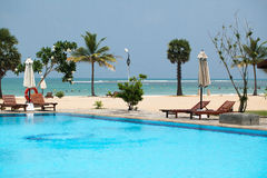 Beach vacation accessories. Beach on the Indian Ocean island of Sri Lanka. Coast Pasikudah Royalty Free Stock Photos