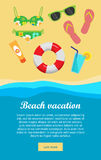Beach Vacation Banner. Sea beach with lifebuoy, fins, cocktail, swimsuit, sunglasses, sun block on sand. Tidal bore. Concept of holiday at sea. Beach Stock Photo