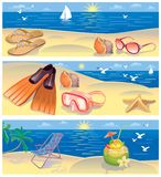 Beach vacation banners Royalty Free Stock Images