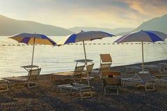 Beach vacation. Beautiful evening landscape at seaside. Montenegro, Bay of Kotor, Tivat city. Beach vacation. Beautiful evening landscape at seaside. Montenegro royalty free stock photo