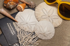 Beach vacation concept. Close-Up of passports, sun glasses, sand dollars (Echinoderm), coral and shells: Beach Vacation Concept Royalty Free Stock Photo