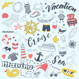 Beach Vacation Freehand Doodles with Cruise Elements. Summer Adventure Hand Drawn Set Royalty Free Stock Images