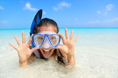 Beach vacation fun woman in snorkel mask Royalty Free Stock Photos