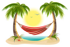 Beach vacation. Hammock between palm trees Royalty Free Stock Photos