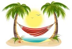 Beach vacation. Hammock between palm trees. Cartoon illustration in vector format Royalty Free Stock Photos