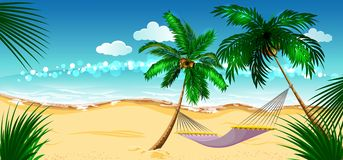 Beach vacation. Hammock between palm trees. Cartoon illustration in vector format Stock Photo