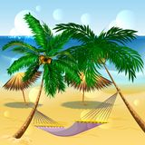 Beach vacation. Hammock between palm trees. Cartoon illustration in vector format Stock Image
