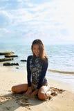 Beach Vacation. Happy Woman Having Fun. Summer Holidays Travel. Stock Photos