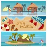 Beach Vacation Horizontal Banners Set Stock Photos