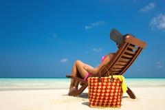 Beach vacation. Hot beautiful woman enjoying looking view of bea Royalty Free Stock Photos