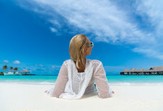 Beach vacation. Hot beautiful woman enjoying looking view of beach ocean Royalty Free Stock Image