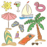 Beach vacation icon set Stock Photo