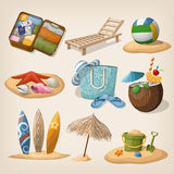 Beach vacation icon set. Vector illustration Stock Images