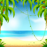 Beach vacation. Illustration of the beach theme is perfect for background, advertising, postcards Royalty Free Stock Photography