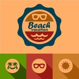 Beach vacation labels Stock Images