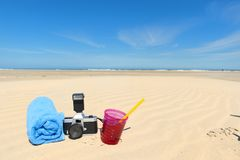 Beach vacation objects in sand Royalty Free Stock Photography