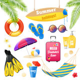 Beach Vacation Realistic Items Set Stock Images
